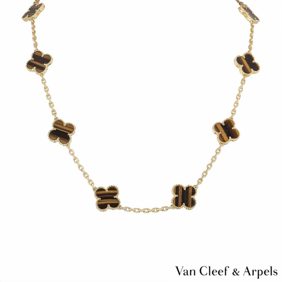 a7f450af17 Van Cleef   Arpels Yellow Gold Tiger Eye Vintage Alhambra Necklace  VCARD40700